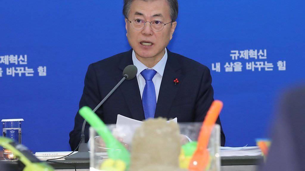 Südkoreas Präsident wird am Rande der olympischen Spiele ranghohe Vertreter Nordkoreas treffen, darunter die Schwester von Kim Jong Un. (Archiv)