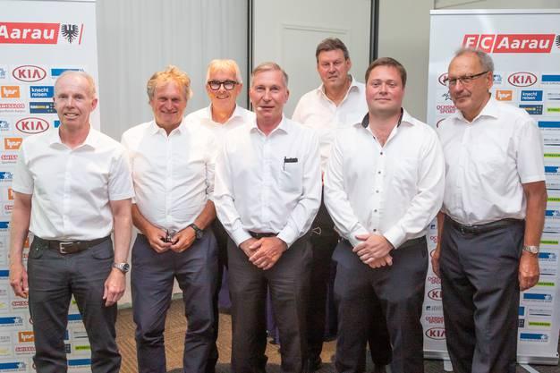 Der neue FCA-Verwaltungsrat: Peter Zubler, Kurt Sandmeier , Rudolf Vogt, Alfred Schmid, Roger Geissberger, Philipp Bonorand und Karl Oldani (v.l.).