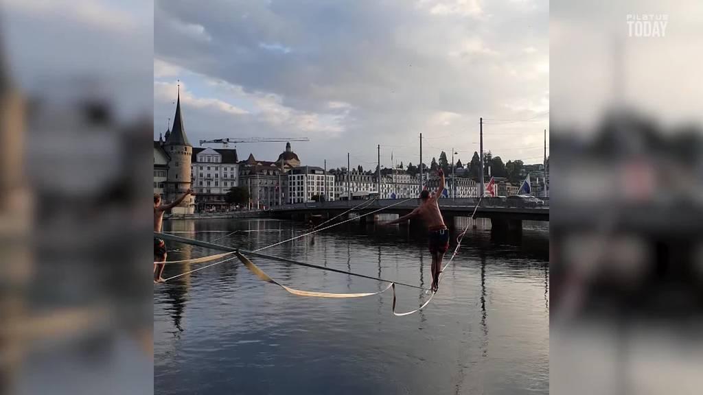 Slackliner in Luzern: «Extrem befriedigend, macht süchtig»
