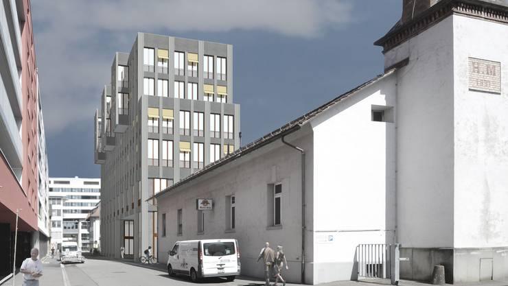An der Dynamostrasse entsteht ein neues Gebäude (hinten), das historisch bedeutende Kesselhaus (vorne rechts) bleibt bestehen