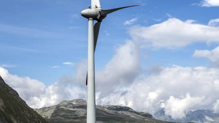 Der Windpark auf der Walliser Seite des Nufenenpasses.