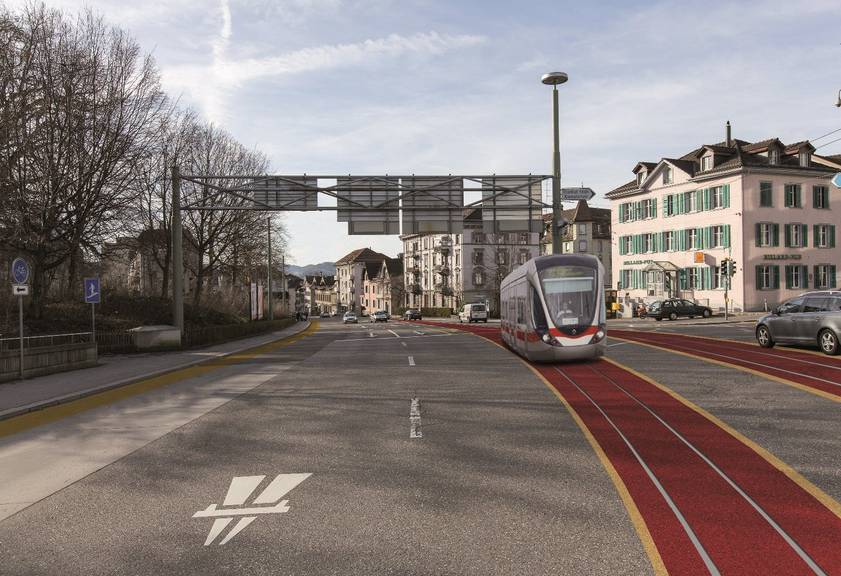 So sähe eine Tramlinie in der Stadt St.Gallen aus. ©zVgStadt St.Gallen