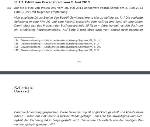 Dieser Ausschnitt aus dem Untersuchungsbericht zeigt den Inhalt des E-Mails.