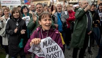 """In Tschechien sind erneut Tausende Demonstranten gegen die Regierung von Ministerpräsident Andrej Babis auf die Strasse gegangen.Sie forderten auf Schildern """"Babis ins Gefängnis"""" oder """"Rücktritt"""", wie die Agentur CTK berichtete."""