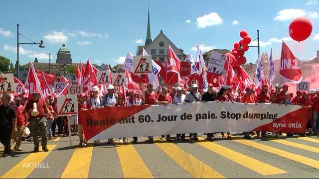18`000 Bauarbeiter demonstrieren in Zürich