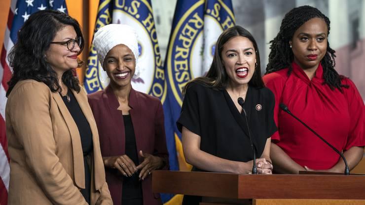 Ziel von Donalds Trumps jüngsten Attacken über Twitter: Die vier demokratischen Abgeordneten Rashida Tlaib, Ilhan Omar, Alexandria Ocasio-Cortez und Ayanna Pressley (von links).