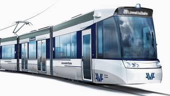 So wird die Limmattalbahn aussehen: Dass vorne prominent das Logo von Aargau Verkehr prangt, sorgt für Kritik.