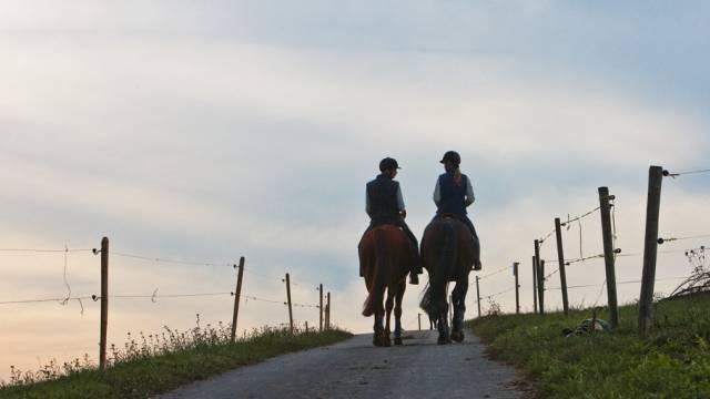 Zwei Reiterinnen sind mit ihren Pferden unterwegs (Archivbild)