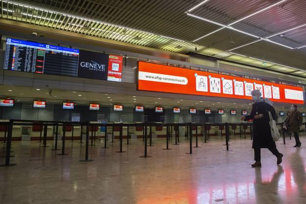 Die BAG-Kampagne zum Coronavirus am Flughafen Genf.