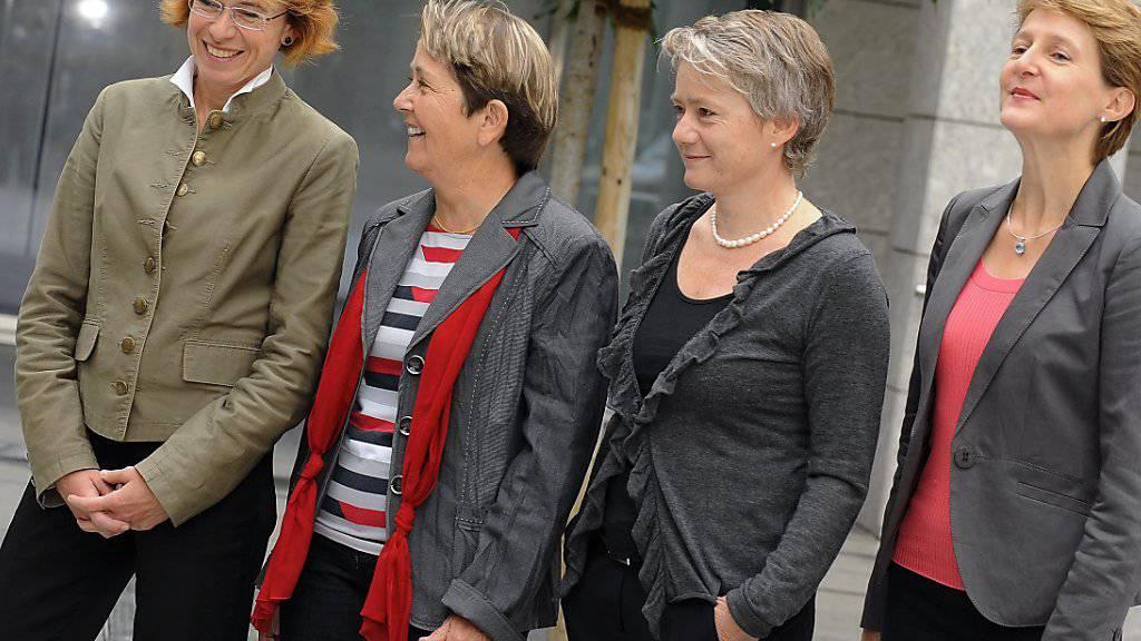 Vier Frauen als interne SP-Kandidatinnen bei der Bundesratswahl 2010: Das Rennen machte schliesslich Simonetta Sommaruga (rechts). (Archivbild)