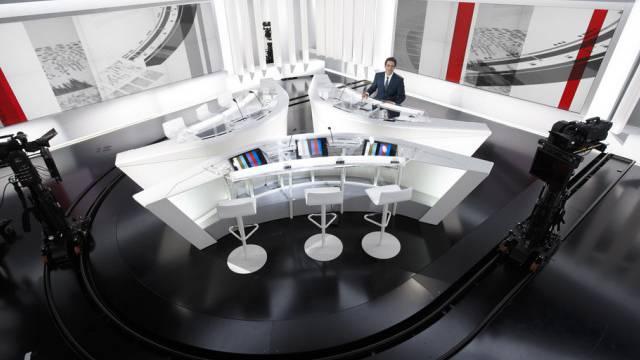 Blick in das RTS-Fernsehstudio in Genf (Archiv)
