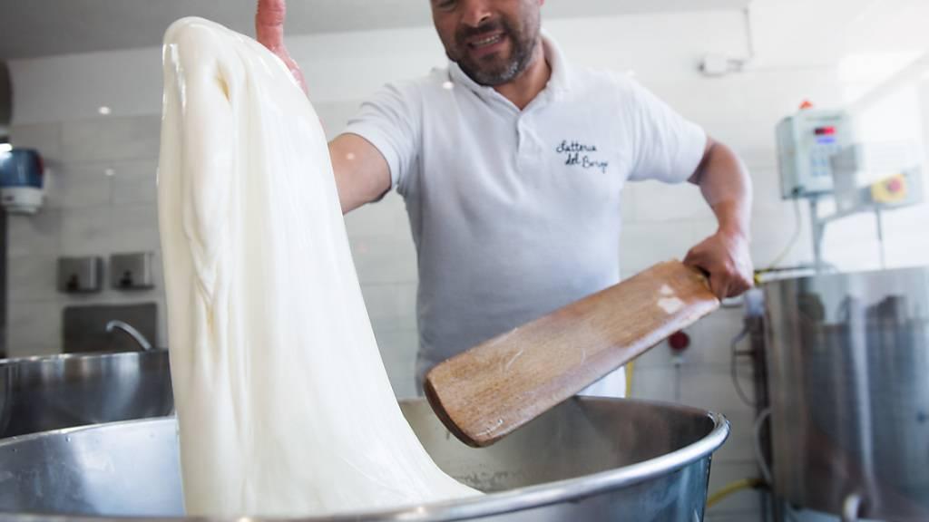 Antonio Taccogna bei der Herstellung von Mozzarella in der Molkerei «Latteria del Borgo» in Faido.