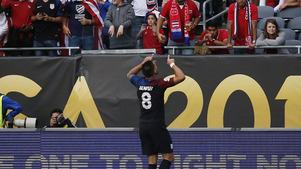 Erlösung: Clint Dempsey feiert sein Führungstor für die USA gegen Costa Rica