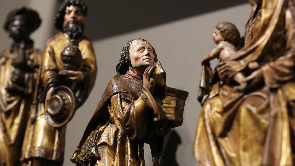 Detail aus dem restaurierten Antwerpener Altarbild. Die Ausstellung «Ein vergessenes Meisterwerk - Das Antwerpener Altarbild der Kölner Kreuzbrüder» ist im Wallraf-Richartz Museum zu sehen.