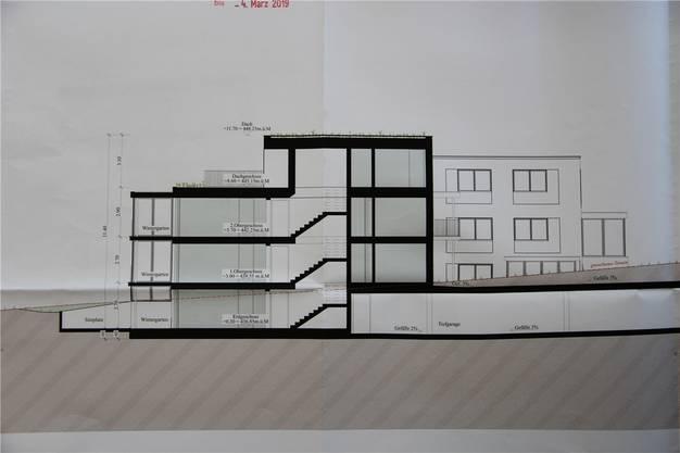 So sollen die Mehrfamilienhäuser beispielsweise aussehen: Untergeschoss mit Sitzplatz, zwei oberirdische Geschosse plus Attikawohnung.