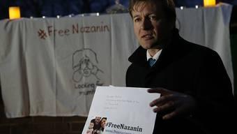 Der Ehemann der inhaftierten Nazanin Zaghari-Ratcliffe hat bei einer Wache von Amnesty International vor der iranischen Botschaft in London die Freilassung seiner Frau gefordert. (Bild vom 16. Januar)