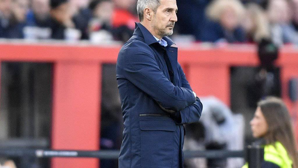 Adi Hütter verbrachte einen unangenehmen Abend in Leverkusen