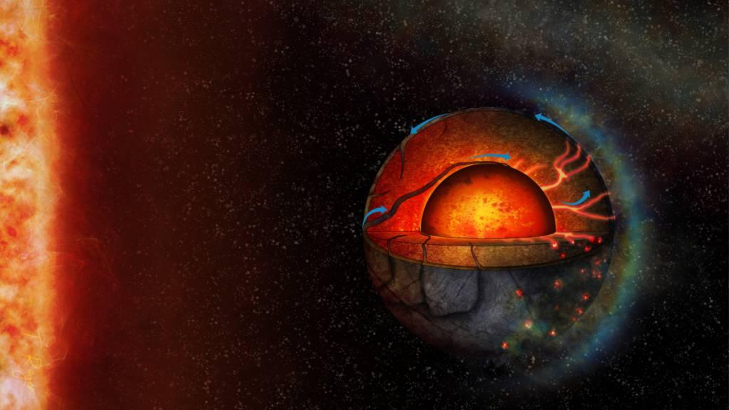 Eine künstlerische Darstellung des Exoplaneten LHS 3844b. Computersimulationen ergaben, dass der Planet eine tektonische Aktivität besitzen könnte.