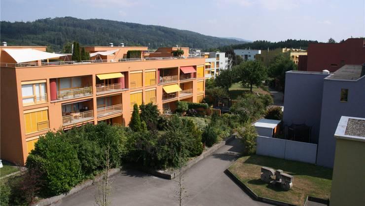 Blick auf das Rüteli und die nach einem Farbkonzept gestalteten Wohnhäuser.