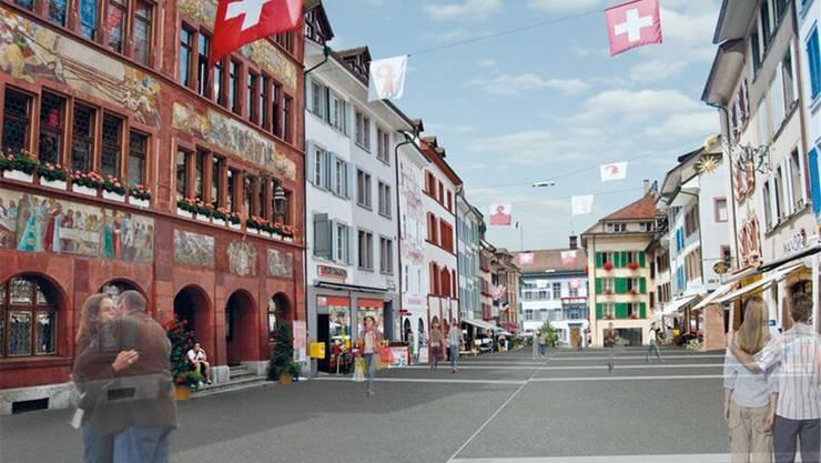 Ab Dezember soll die Rathausstrasse eine ebenerdige, Piazza-ähnliche Flaniermeile sein.