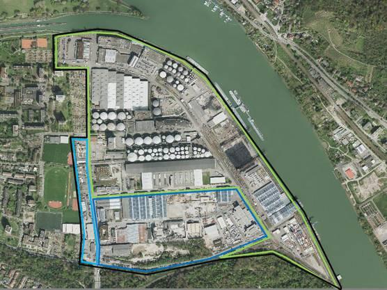 Nur das grün umrandete Areal gehört zum eigentlichen Hafenperimeter. Dunkelblau ist das Industrie- und Gewerbegebiet Hard, hellblau das Gewerbegebiet Sternenfeld West.