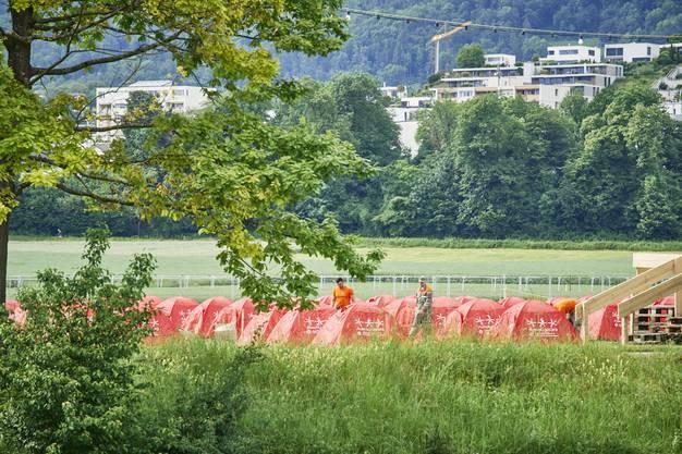 Blick auf den Zeltplatz am Turnfest in Aarau.