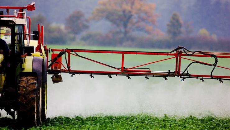 Ein Bauer in Deutschland spritzt Mittel, um seine Pflanzen zu schützen.