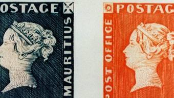 Die wohl begehrtesten Briefmarken der Welt: eine Blaue und eine Rote Mauritius