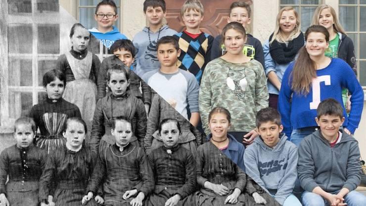 Oben: Die 5. Klasse von Barbara Gabathuler (Stapferschulhaus) und unten die Mittlere Mädchenschule 1889, ebenfalls vor dem Lateinschulhaus.