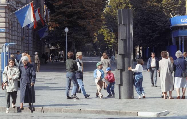 Honeggers Werke sind in unzähligen Ländern im öffentlichen Raum präsent: Skulptur am Zürcher Paradeplatz