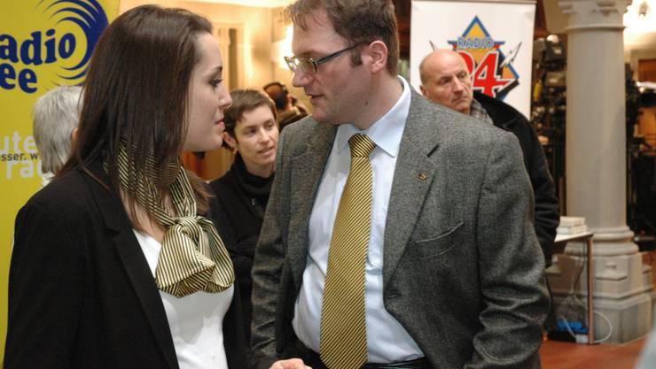 BDP-Gemeinderatskandidatin Andrea Meier und Stadtparteipräsident Wolfgang Kweitel.