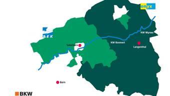 Das Gebiet der AEK Energie AG und von onyx Energie Mittelland