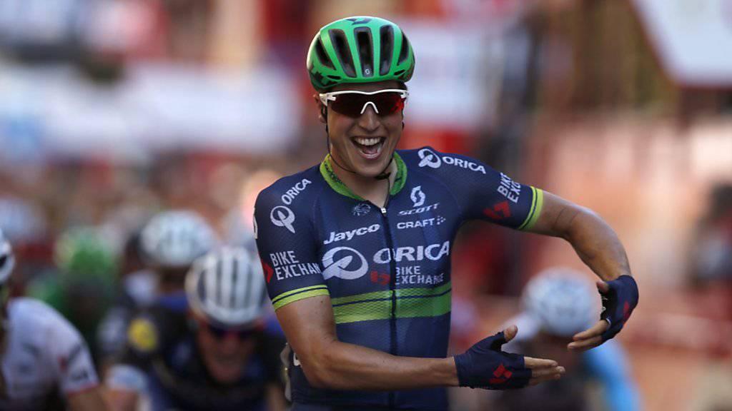 Jens Keukeleire feiert auf der Zielgeraden in Bilbao den Sieg in der 12. Etappe der Vuelta