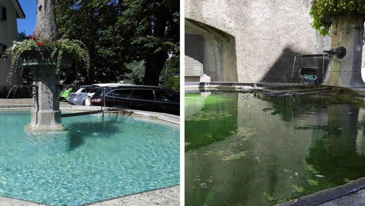 Der Laufenbrunnen in Laufenburg/Schweiz und der Mittlere Brunnen in Laufenburg/Baden
