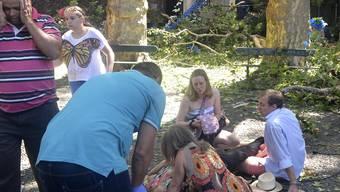 Überrascht und geschockt vom Umstürzen einer uralten Eiche: Gläubige und Touristen kümmern sich um die Verletzten auf Madeira.
