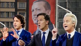 v.l.: Jesse Klaver (Linksgrün), Mark Rutte (VVD) und Geert Wilders (PVV)