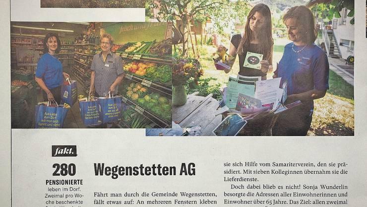 Nominiert als Dorf des Jahres: Die «Schweizer Illustrierte» stellt in der neuen Ausgabe die Aktion von Sonja Wunderlin vor; im Bild mit Anita Buser von Volg (links) und Dorf-Jurorin Annina Campell.