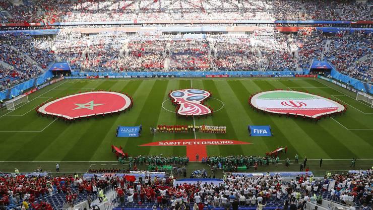 Der Empfang der beiden Mannschaften im Stadion in St. Petersburg.