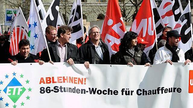 Protest gegen Erhöhung der Höchstarbeitszeit in Bern