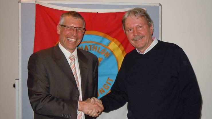Nach zwei erfolgreichen Jahren übergibt Peter Wüthrich (rechts) das Amt seinem Nachfolger Frank-Urs Müller.