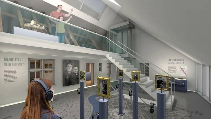 Die Visualisierung zeigt, wie das Museum Schiff in Laufenburg nach der Erweiterung aussehen könnte.