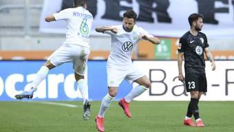 Steffen jubelt nach seinem Kopfballtreffer gegen Augsburg.