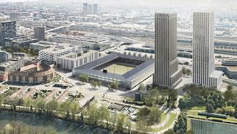 So könnte das zukünftige Fussballstadion auf dem Hardturm-Areal in Zürich aussehen. (Archivbild)