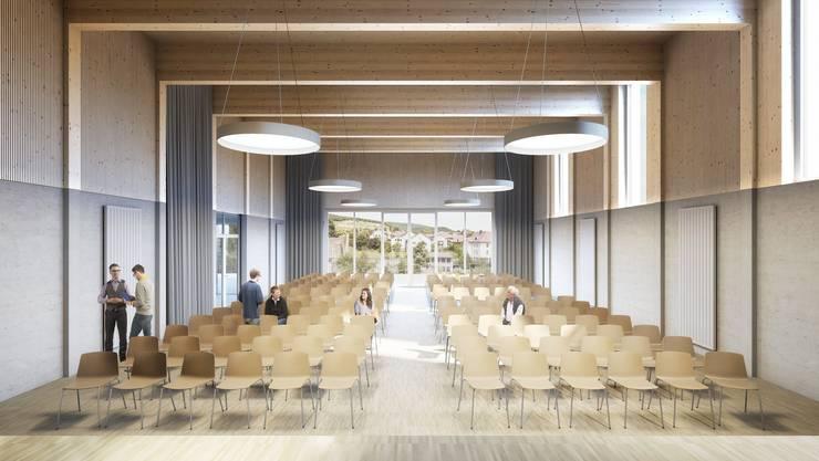 Visualisierung Schulhaus Schinznach mit dem Innenleben der neuen Aula, des Foyers und eine Aussenansicht.