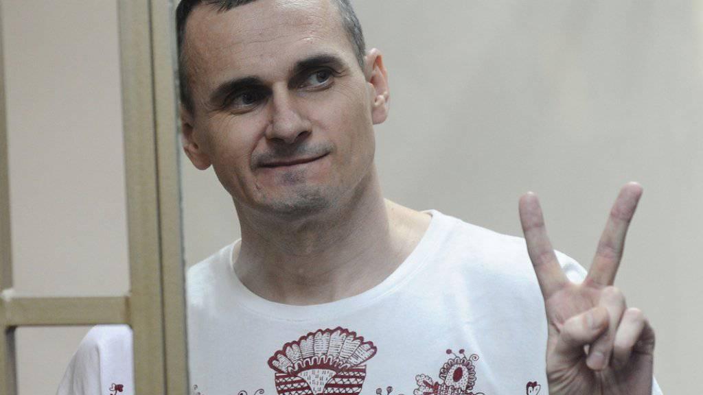 Der ukrainische Regisseur Oleg Senzow am Dienstag während der Urteilsverkündung.