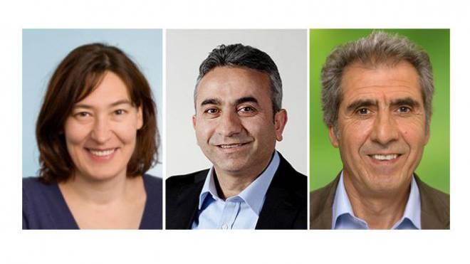 Leyla Gül, Co-Generalsekretärin der SP Schweiz (links), Mustafa Atici, SP-Grossrat in Basel-Stadt (mitte), Hasim Sancar, Grossrat der Grünen in Bern (rechts) Fotos: HO