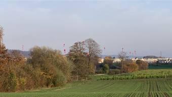 Eine Ballonaktion führt es vor: Die Erdoberfläche wird durch den Aushub dereinst um durchschnittlich 9,5 Meter höher liegen.
