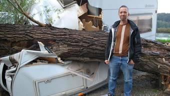 Baum stürzt auf Wohnwagen