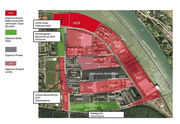 Die Eigentumsverhältnisse im Hafen sind komplex: Sowohl im Hafenperimeter als auch im benachbarten Gewerbegebiet Hard sind viele Unternehmen Eigentümer ihres Standorts. Und da, wo der Kanton Grundeigentümer ist, sind die Grundstücke durch unterschiedlich lange Baurechte gebunden.