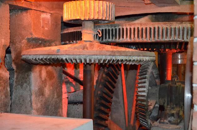 Mühle Schinznach Das 280 Jahre alte Getriebe der Mittleren Mühle